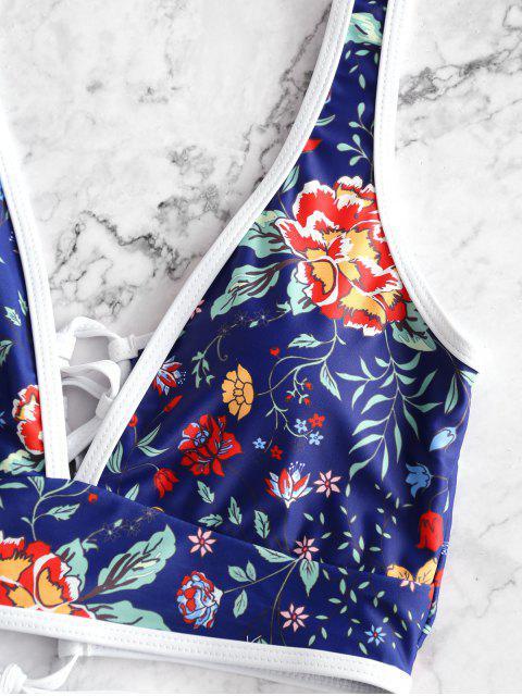 ZAFUL de encaje de flores panza de control de Tankini del traje de baño - Multicolor-A S Mobile