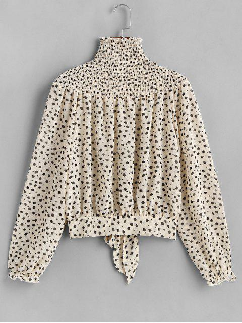 latest Dalmatian Dot Smocked Knotted High Neck Blouse - WARM WHITE S Mobile
