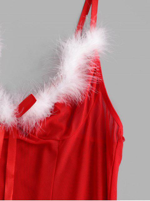 Ensemble de Body de Noël à Ourlet en Dentelle en Maille Transparente - Rouge XL Mobile