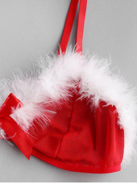 Reggiseno e Mutandine con Bordi a Piume di Natale - Rosso 2XL Mobile