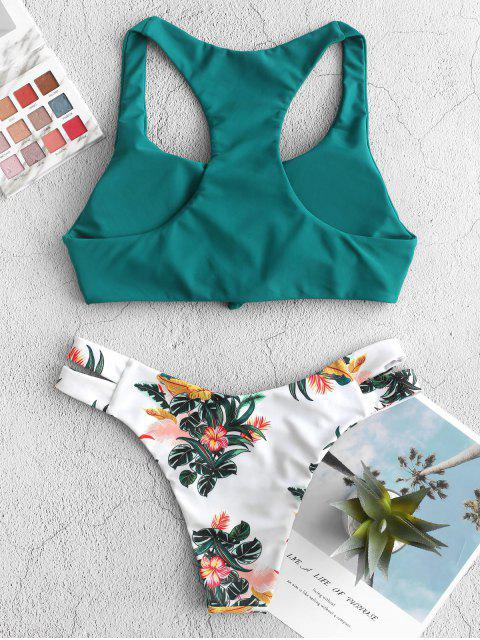 best ZAFUL Plant Print Knot Racerback Bikini Swimsuit - GREENISH BLUE M Mobile