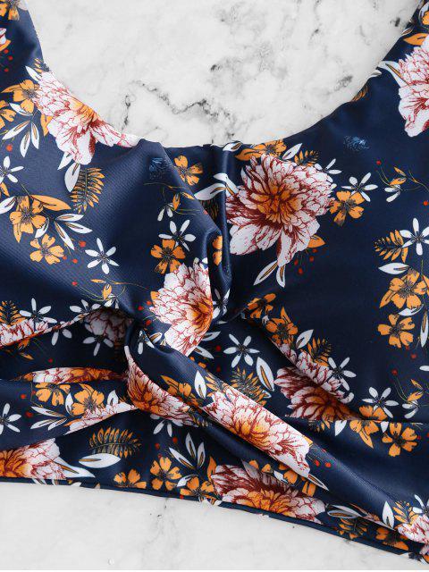 ZAFUL flor trenzado de cintura alta de Tankini del traje de baño - Multicolor-A 2XL Mobile