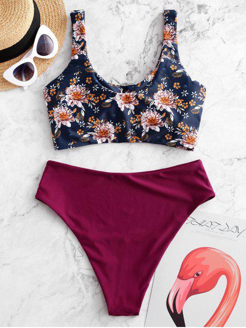 ZAFUL flor trenzado de cintura alta de Tankini del traje de baño - Multicolor-A XL Mobile