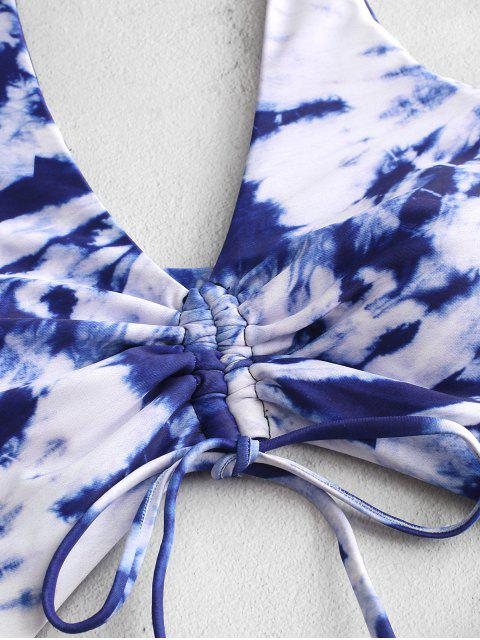 trendy ZAFUL Tie Dye Cinched Cutout One-piece Swimsuit - COBALT BLUE XL Mobile
