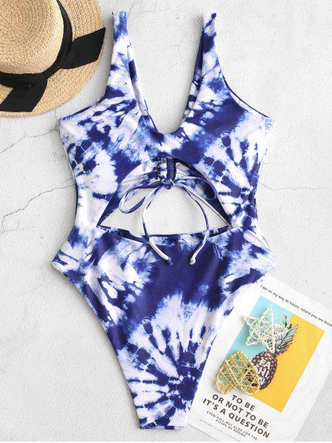 ZAFUL Tie Dye Со шнуровкой С вырезом Слитный Купальник - Кобальт-синий   M Mobile