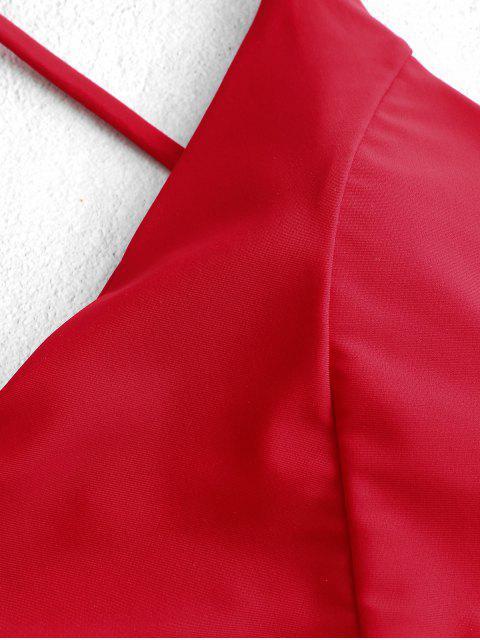 ZAFUL entrecruzado con cordones acanalado Tankini del traje de baño - Rojo Lava M Mobile