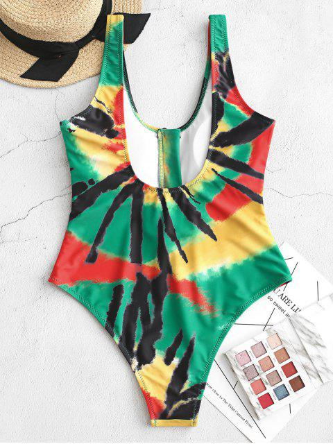 fashion ZAFUL Half-zip Tie Dye One-piece Swimsuit - MULTI-A M Mobile