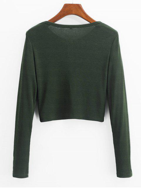 chic ZAFUL Henley Cropped Knit Tee - FERN GREEN S Mobile