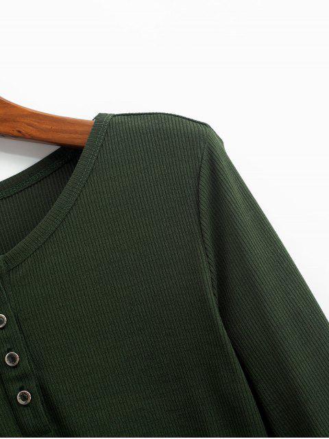 best ZAFUL Henley Cropped Knit Tee - FERN GREEN XL Mobile