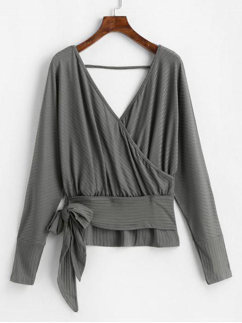 lady Dolman Sleeves V Neck Surplice Solid Tee - DARK GRAY M Mobile