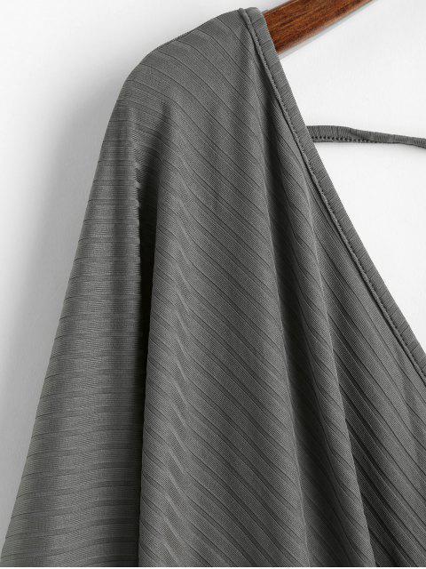 best Dolman Sleeves V Neck Surplice Solid Tee - DARK GRAY L Mobile