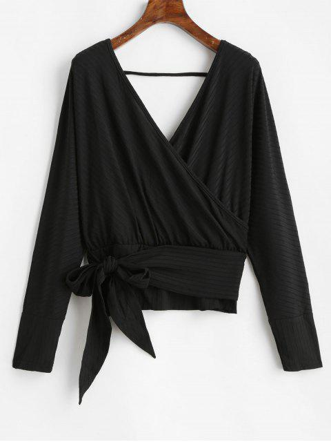 outfits Dolman Sleeves V Neck Surplice Solid Tee - BLACK L Mobile