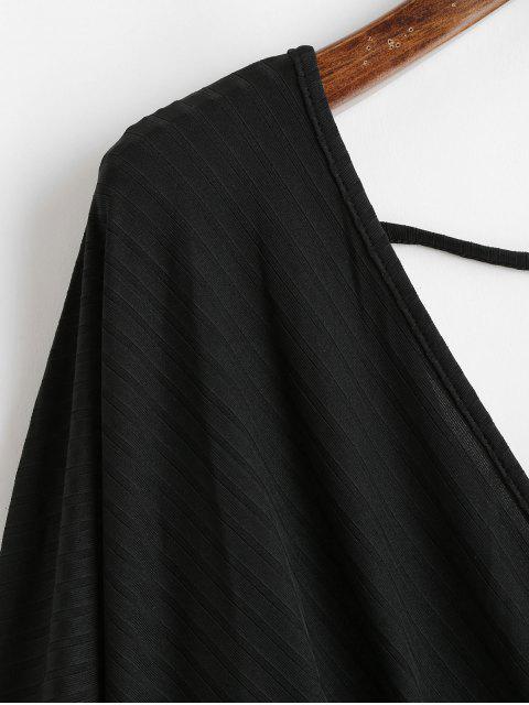 trendy Dolman Sleeves V Neck Surplice Solid Tee - BLACK S Mobile