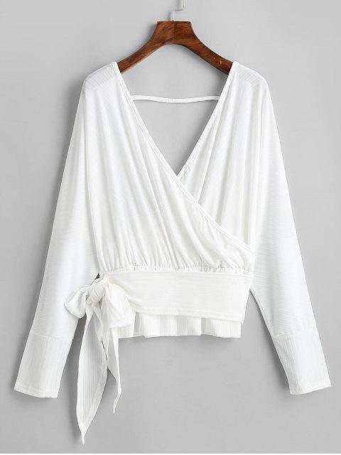 buy Dolman Sleeves V Neck Surplice Solid Tee - WHITE S Mobile