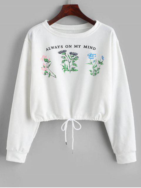 women Slogan Plant Graphic Drawstring French Terry Sweatshirt - WHITE XL Mobile