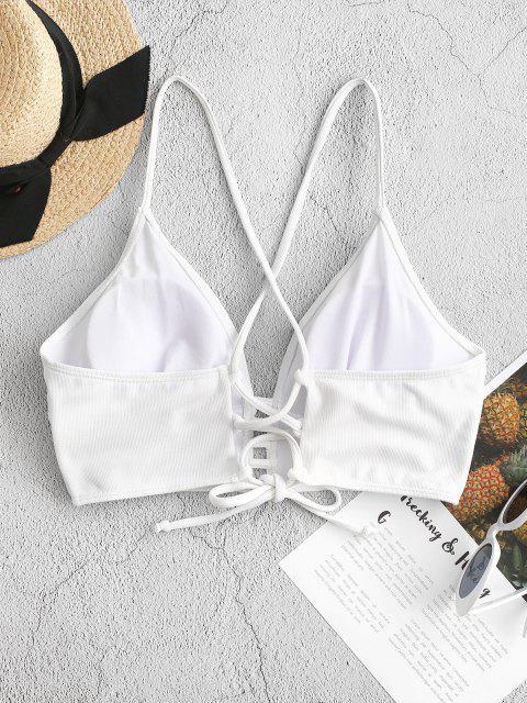 ZAFUL Haut de Bikini Texturé à Bretelle Croisée à Lacets - Blanc L Mobile
