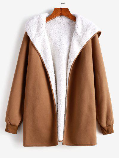 Fur Lining Hooded Coat - Brown S