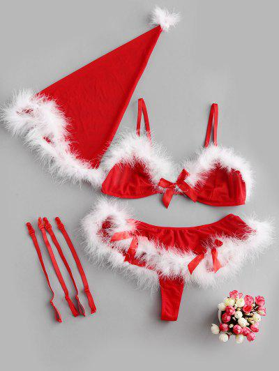 Bowknot Feather Trim Christmas Hat and Bra Set