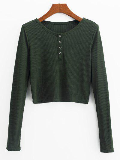 ZAFUL Henley Cropped Knit Tee - Fern Green L