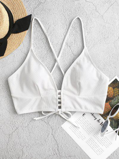 ZAFUL Textured Strappy Crisscross Lace-up Bikini Top - White S