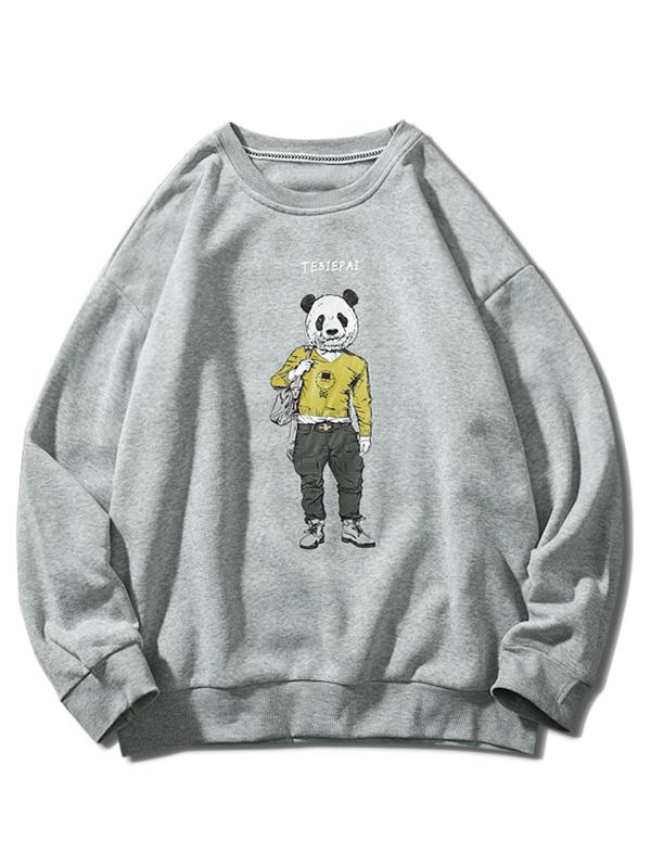 Panda Character Letter Print Crew Neck Fleece Sweatshirt, Light gray