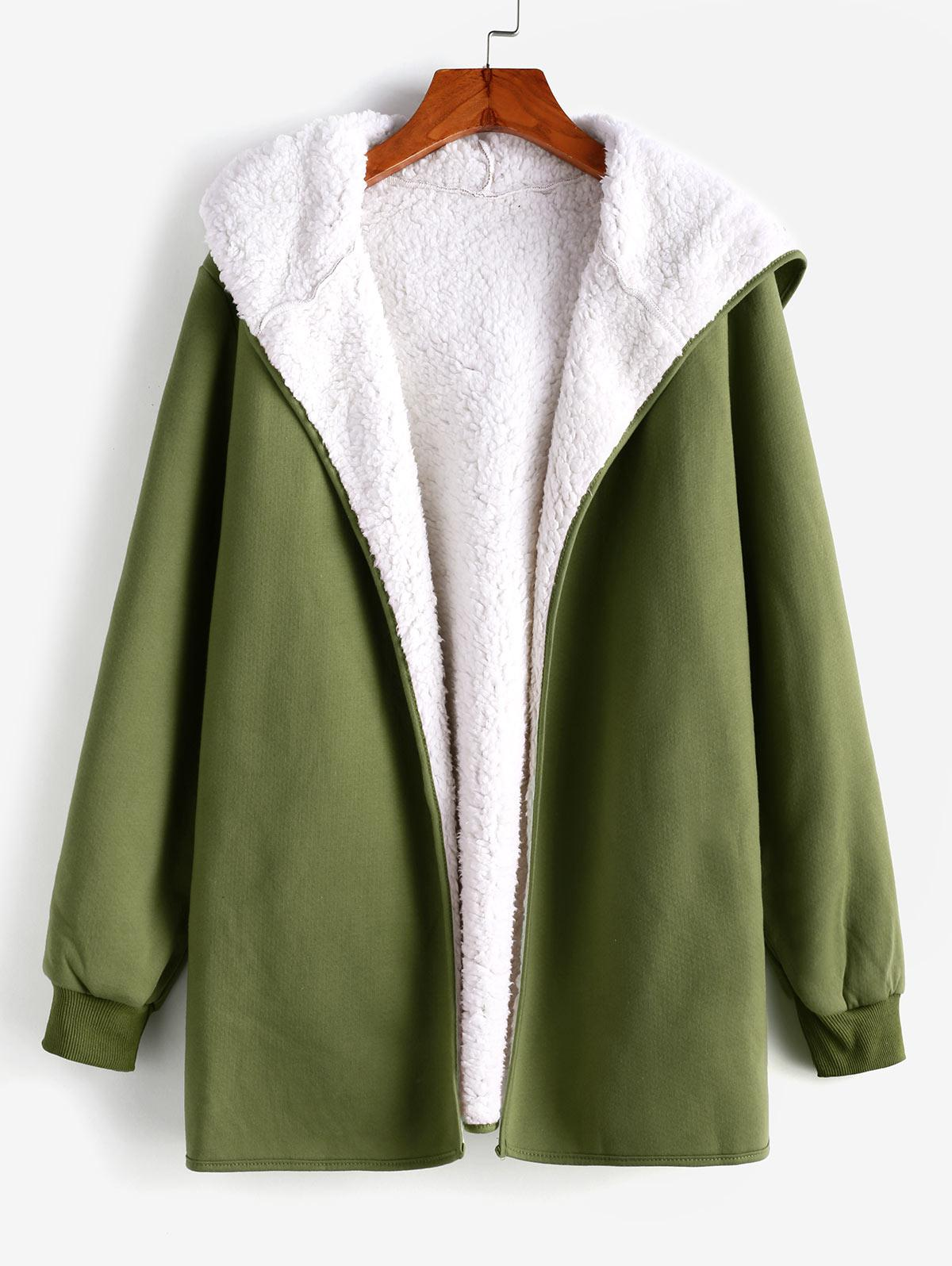 Fur Lining Hooded Coat, Army green