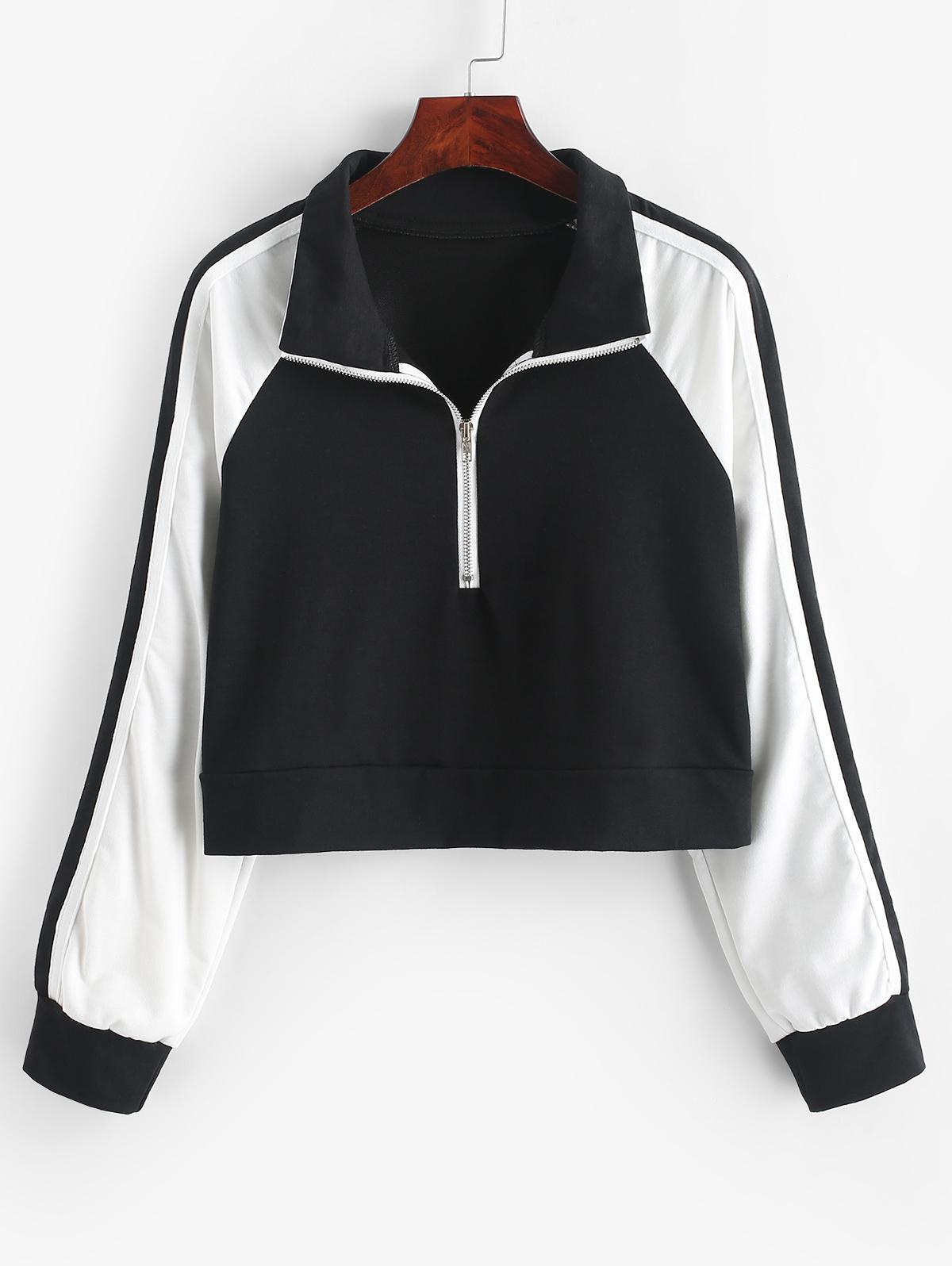 Raglan Sleeve Colorblock Front Zip Sweatshirt