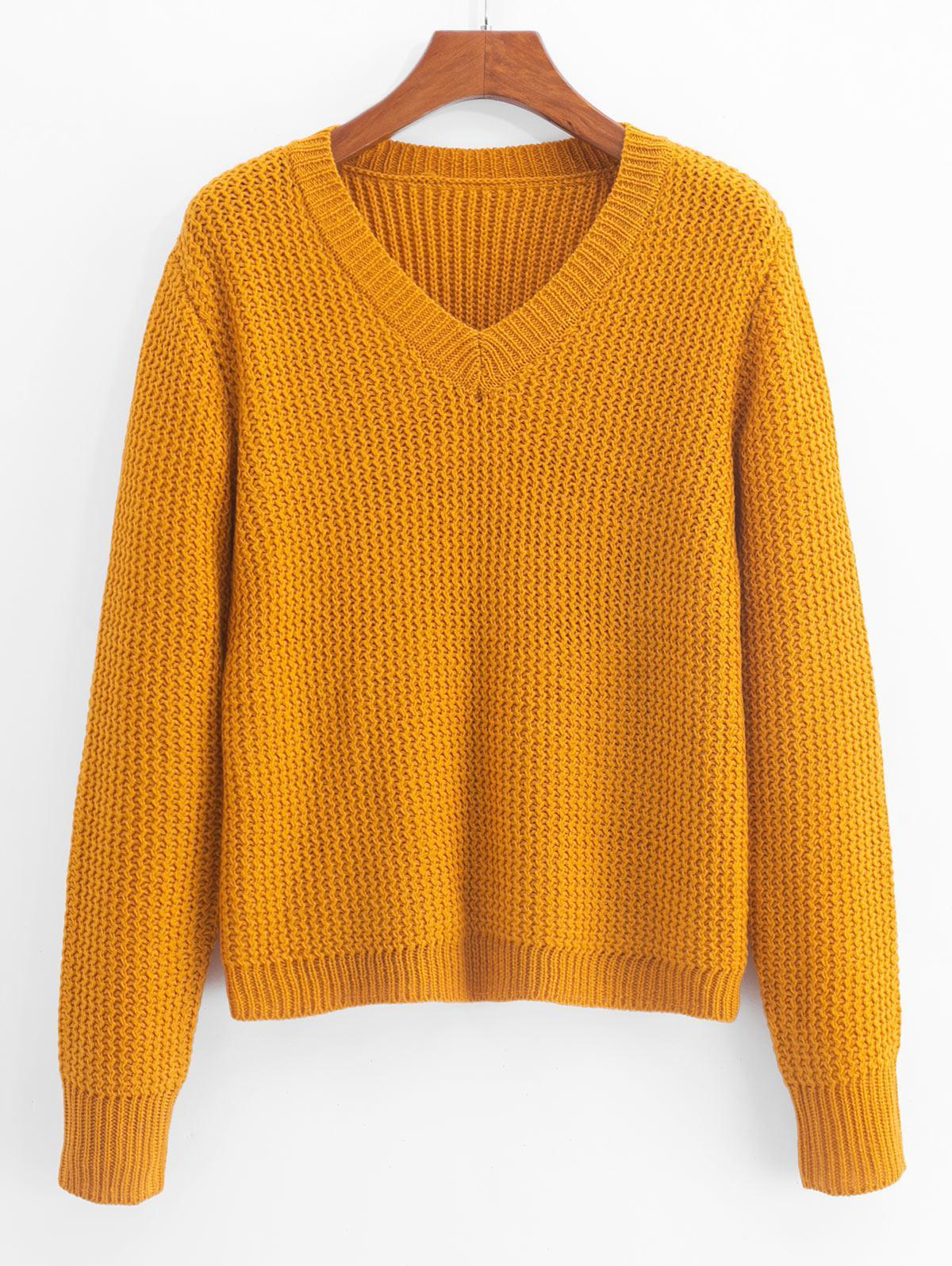 ZAFUL Plain V Neck Zigzag Knit Sweater