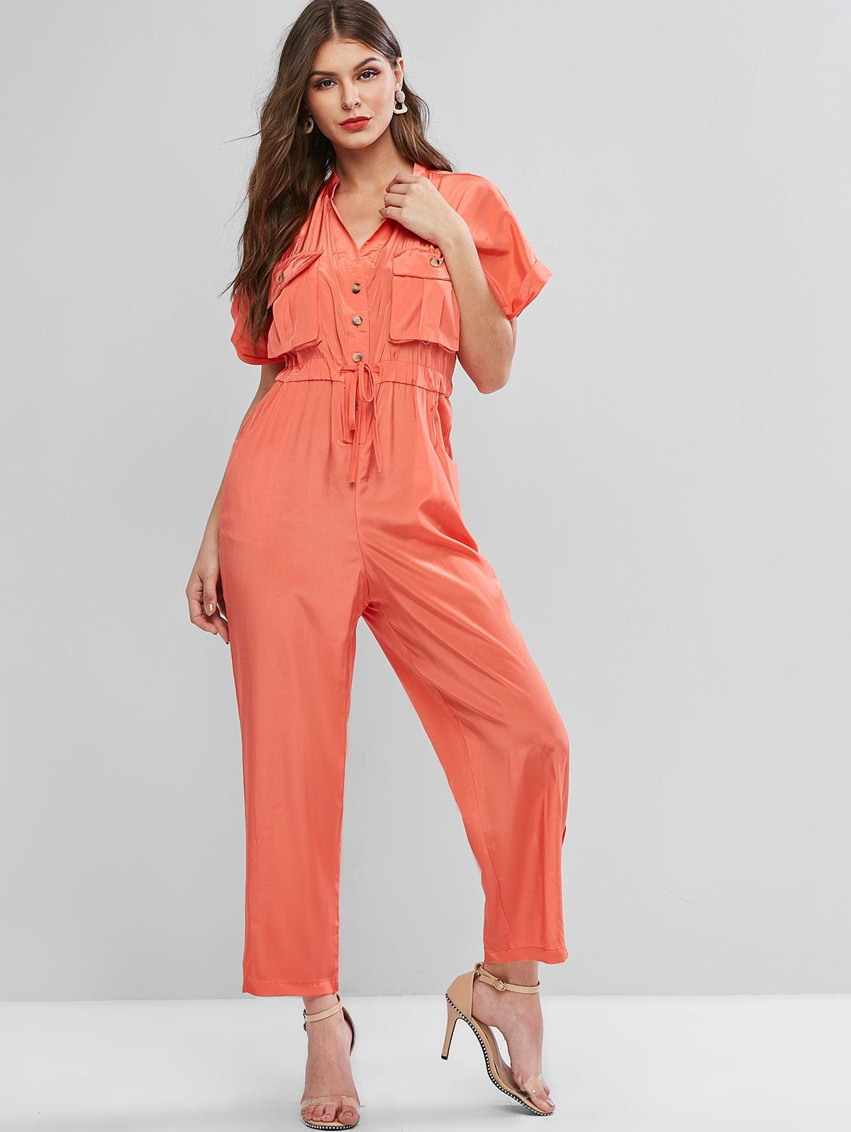 Cuffed Sleeves Buttoned Pockets Drawstring Jumpsuit
