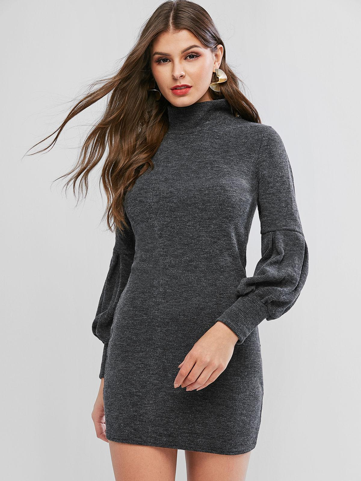 Lantern Sleeve High Neck Short Sweater Dress