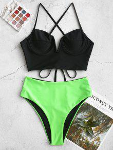 ZAFUL عكسية تقاطعات V-الشق Underwire Tankini ملابس السباحة - أسود M