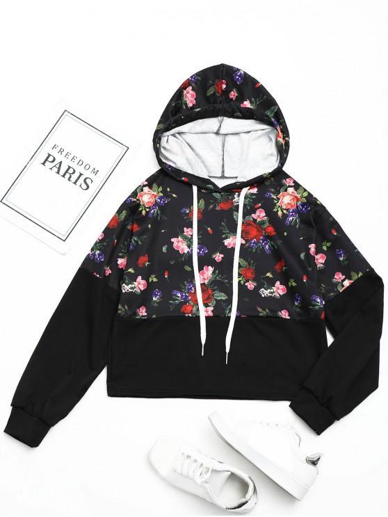 online Drswstring Floral Hoodie - BLACK S