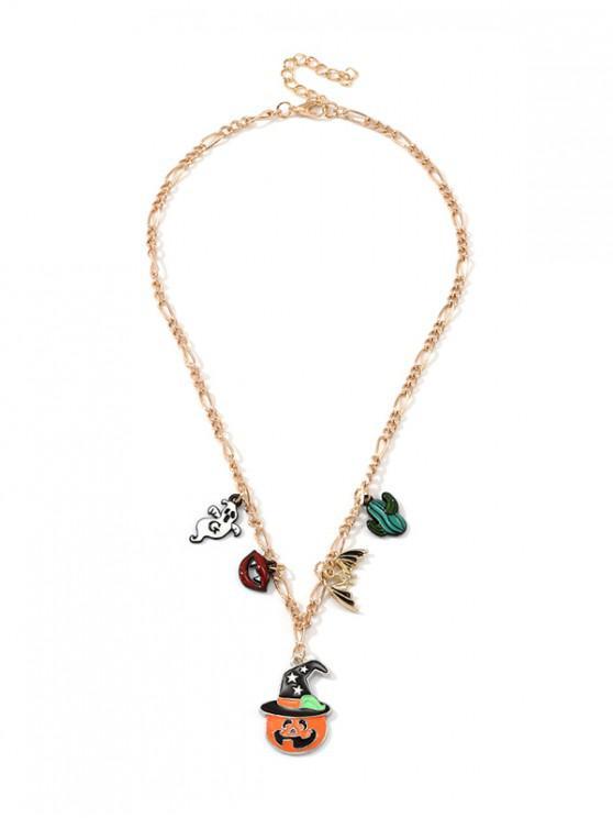 women Halloween Pumpkin Ghost Pendant Chain Necklace - MULTI-B
