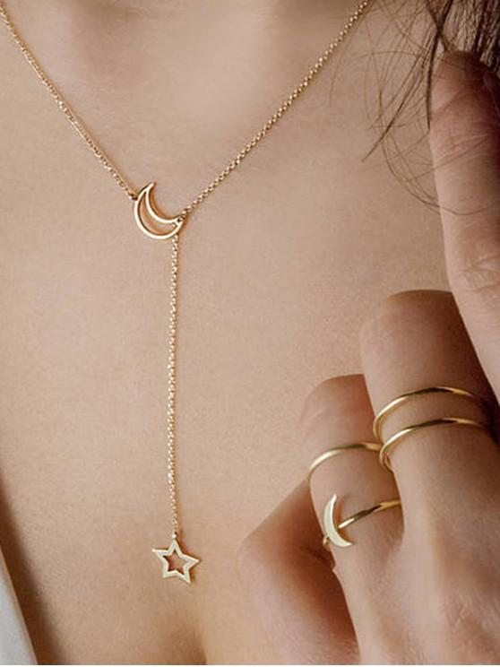 Conjunto simple de collar y anillos de cadena Moon Star - Oro