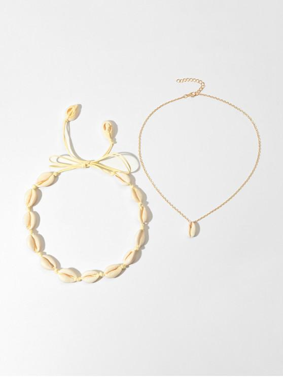 lady 2Pcs Beach Cord Shell Necklaces Set - GOLD