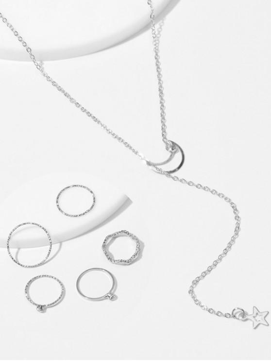 women's Simple Moon Star Chain Necklace And Rings Set - SILVER