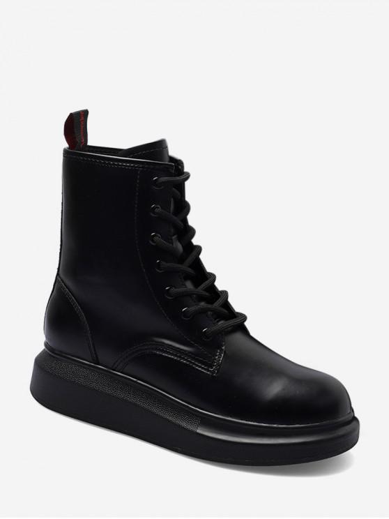 shop Plain Round Toe Platform Ankle Boots - BLACK EU 37