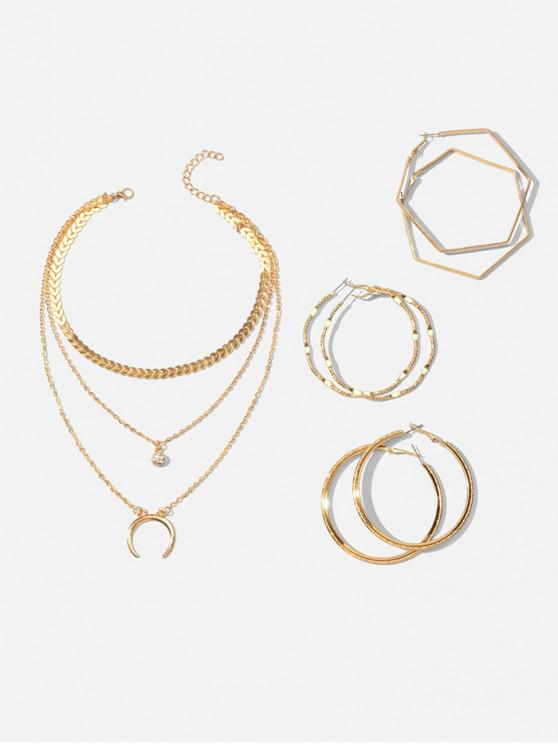 buy Multilayered Crescent Moon Necklace And Simple Hoop Earrings Set - GOLD