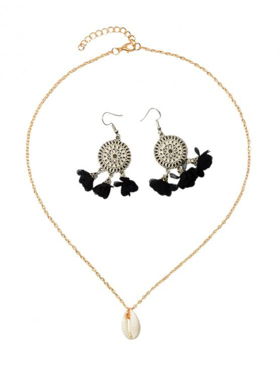 new Flower Tassel Earrings Shell Necklace Set - BLACK
