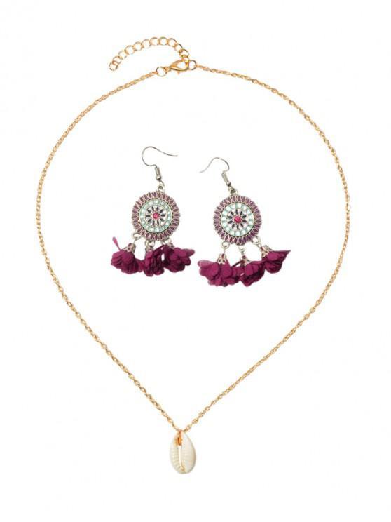latest Flower Tassel Earrings Shell Necklace Set - PURPLE AMETHYST