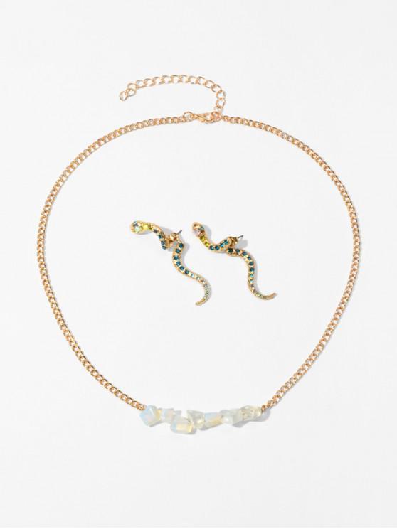 affordable Stone Snake Rhinestone Necklace Earring Set - WHITE