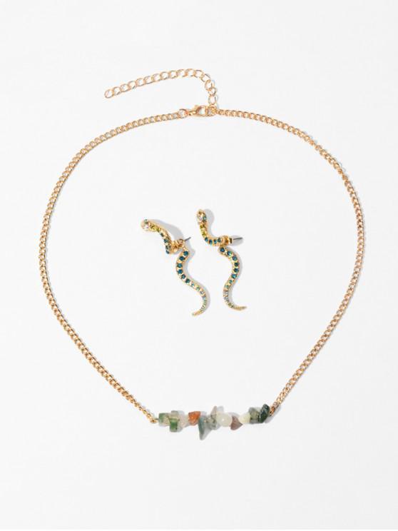 online Stone Snake Rhinestone Necklace Earring Set - SEA GREEN