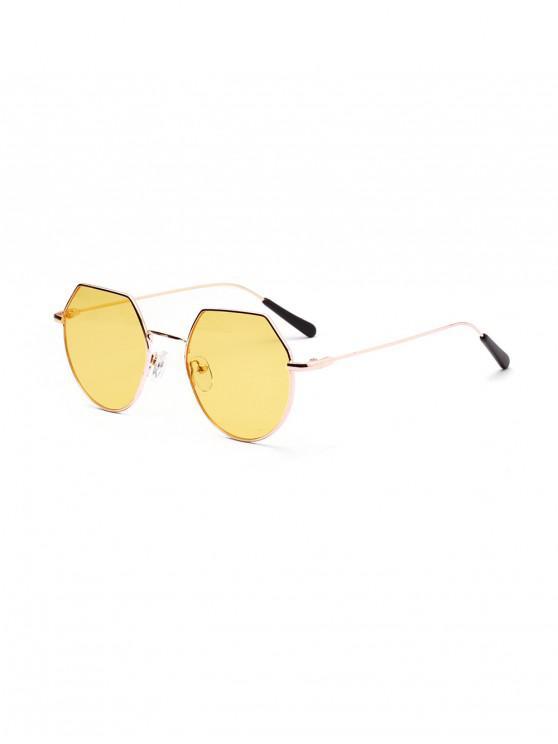 trendy Metal Irregular Frame Sunglasses - GOLD