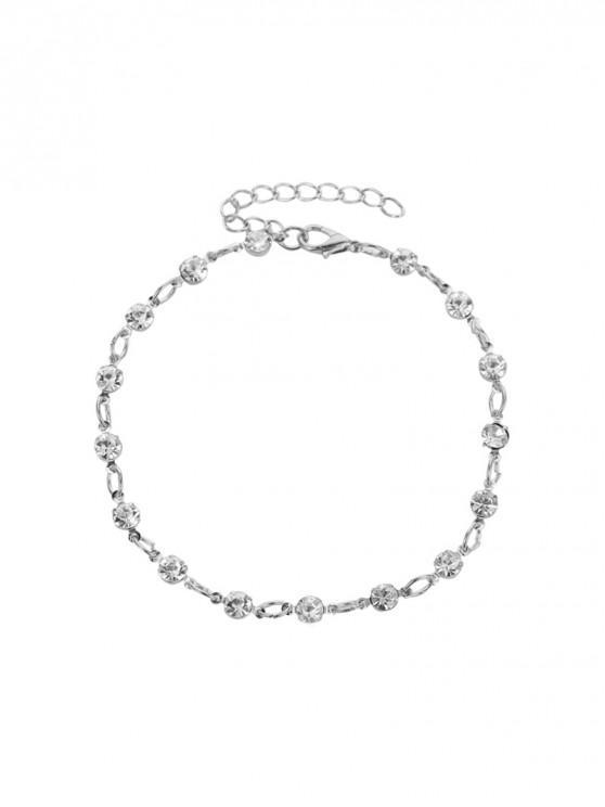 womens Beach Rhinestone Round Chain Anklet - SILVER
