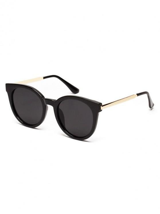lady Transparent Round Metal Outdoor Sunglasses - BLACK