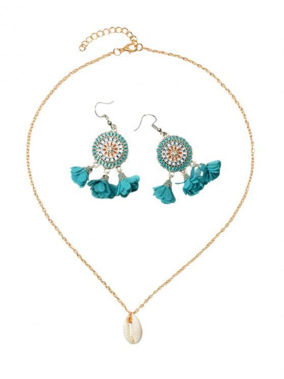hot Flower Tassel Earrings Shell Necklace Set - DEEP SKY BLUE