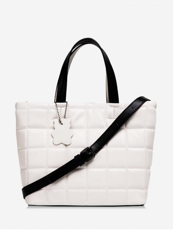 กระเป๋าโท้ทลายกริดสีน้ำเงินเข้ม - ขาว