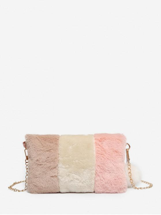 best Casual Crossbody Fuzzy Chain Shoulder Bag - ROSE
