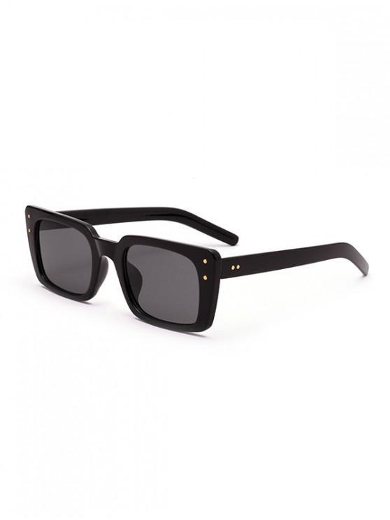 best Vintage Rectangle Rivet Anti UV Sunglasses - BLACK