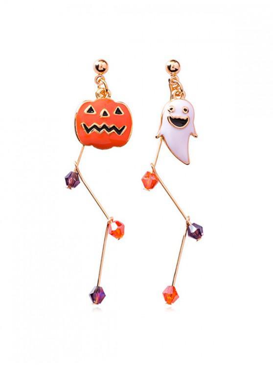online Halloween Pumpkin Ghost Asymmetric Earrings - GOLD